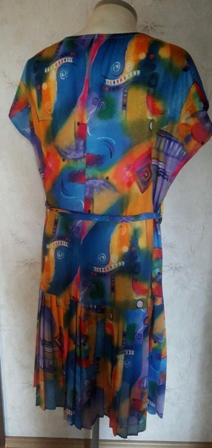 Tolles Damen Kleid  Plisseekleid  wadenlang  Gr. 50 50 50 Bunt  Polyester d61a1e