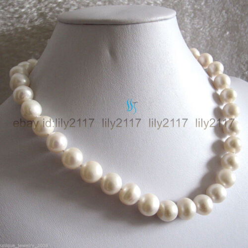 18 Inch 12-13mm White AAA+ Freshwater Pearl Necklace Strand