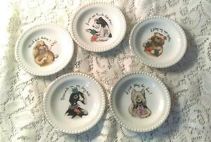 Set of 5 Fun Vintage Coaster/Collector Plates Different Dogs Playing Cards
