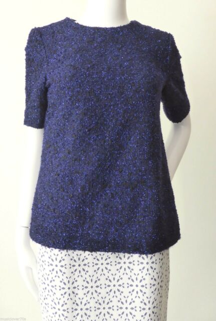 ASOS REVIVE  Made in UK  Size 8 US 4 Short Sleeve Blue Wool Blend Top