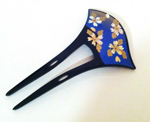 1 pc of Two-Prang Hair Fork Comb Stick with Painted Sakura Cherry Blossom Flower