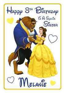 beauty /& the beast Princess personalised A5 birthday card sister daughter niece