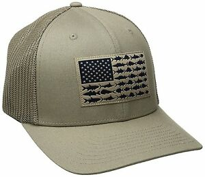 NEW COLUMBIA PFG MESH HAT CAP - FLEX-FIT - TUSH TAN - FISH FLAG - L ... f5945ab7062