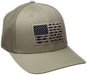 NEW COLUMBIA PFG MESH HAT CAP - FLEX-FIT - TUSH TAN - FISH FLAG - L ... 50b2c59097a