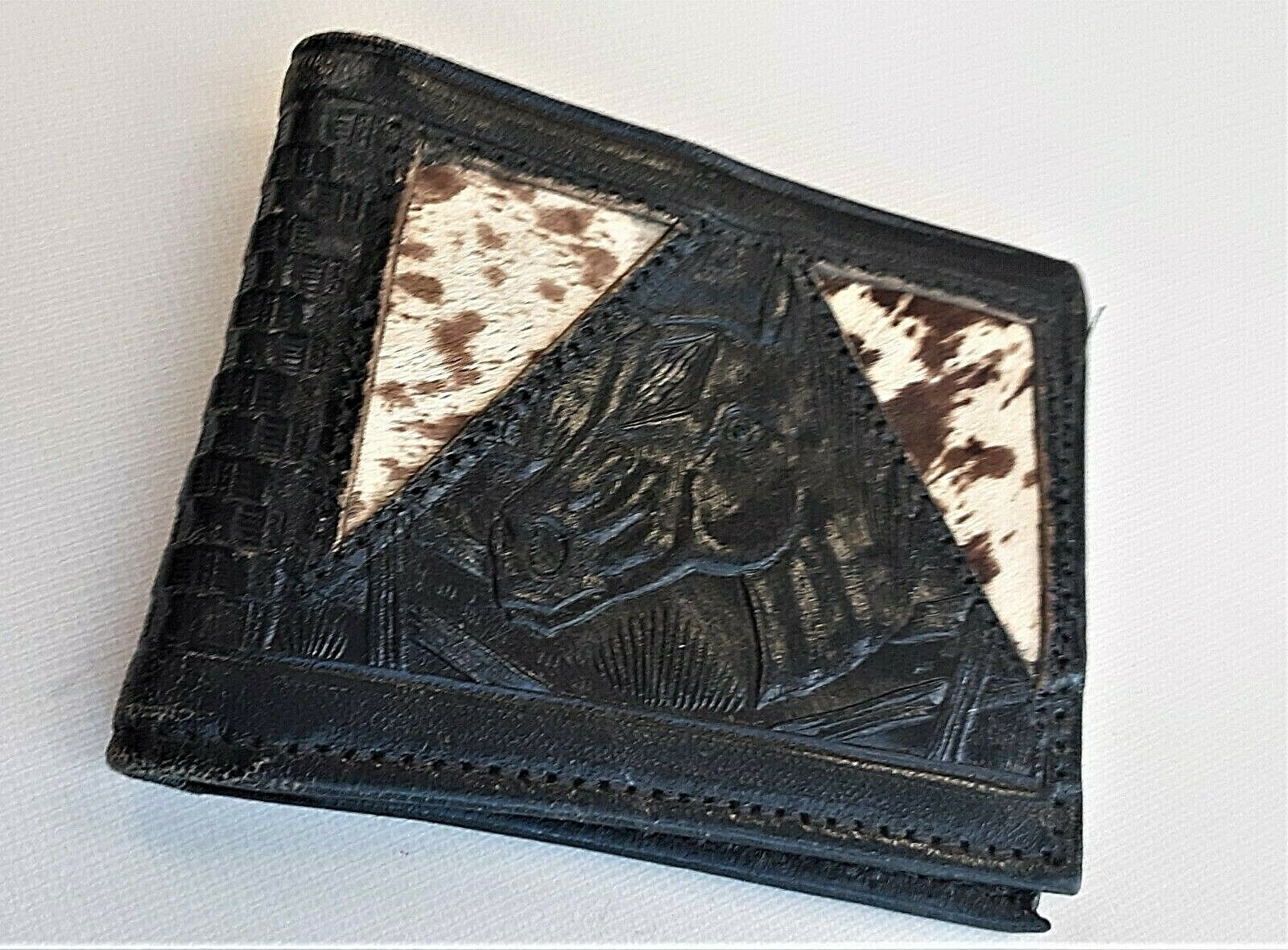HANDCRAFTED LEATHER WALLET SOUTH WESTERN HAND TOOLED & PAINTED BILLFOLD