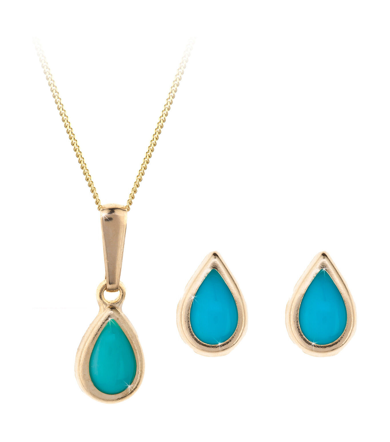 9ct gold December (turquoise) birthstone earring, pendant & chain set. Gift box
