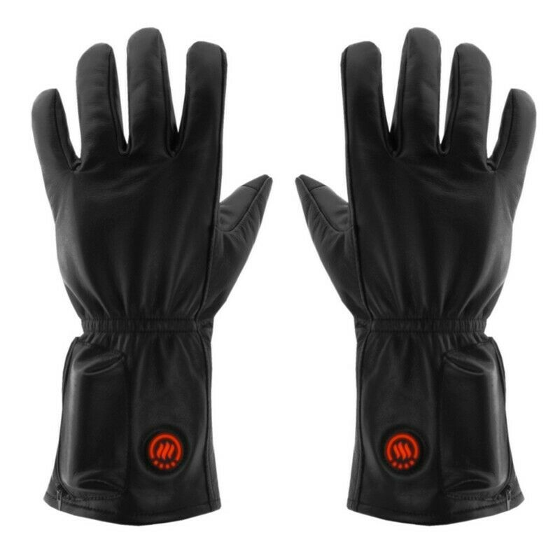 Heated leather gloves, size: L-XL