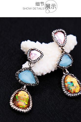 Boucles d/'Oreilles Argenté Chandelier Goutte Irregulier Multicolore Ambré XX24
