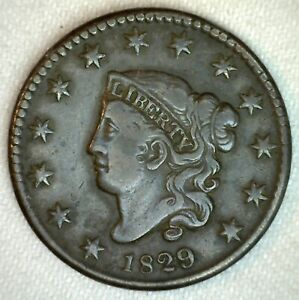 1829-Coronet-Head-US-Large-Cent-Copper-Type-Coin-VF-Very-Fine-Grade-1c-US-Penny