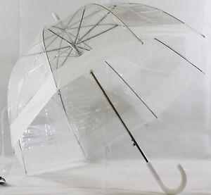 Schoener-Regenschirm-transparent-Automatik-mit-weissem-Rand-B-Ware