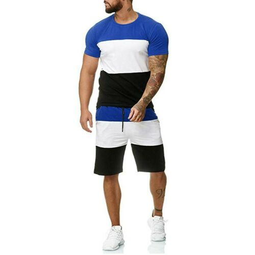 2PC Mens Outfit Sport Set Summer Short Sleeve  Leisure Casual Short Thin Suit