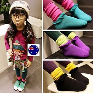 1Pair-Girls-Kids-Children-chic-Double-colors-Colorful-Loose-Frilly-short-Socks
