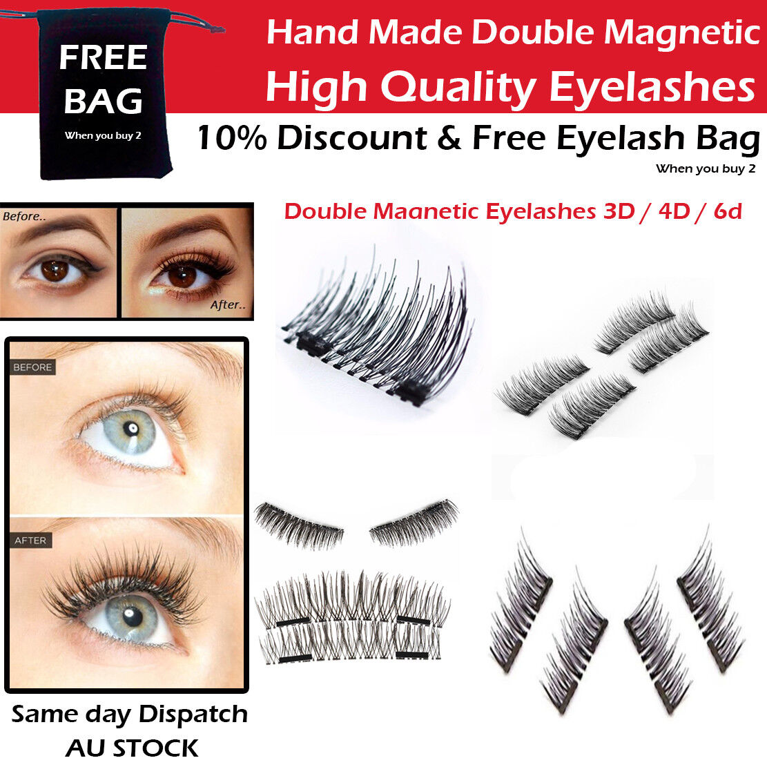 c388b99c8c2 brand new double magnet eyelashes handmade natural buy with confidence.  banner