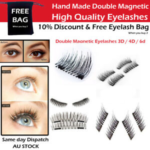 006e84be15d 4pcs 3D Double Magnetic Eyelashes No Glue Natural Handmade Extension ...