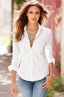 Fashion Womens Ladies Slim Fit Long Sleeve Cotton Casual Summer Shirt Top Blouse