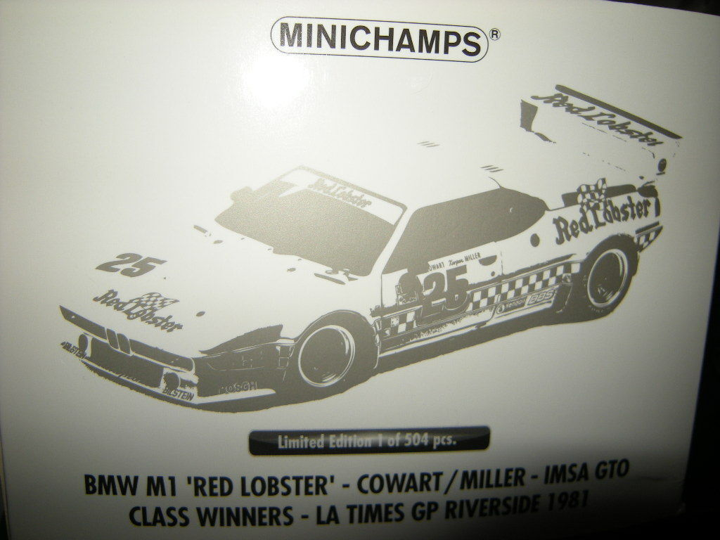 1 18 Minichamps BMW M1 rot Lobster Riverside 1981 Limited Edition in OVP