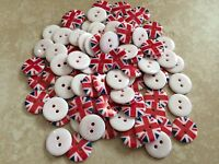 British Uk Union Jack Flag Round Plastic Sewing Buttons -18mm (3/4) - 2 Holes