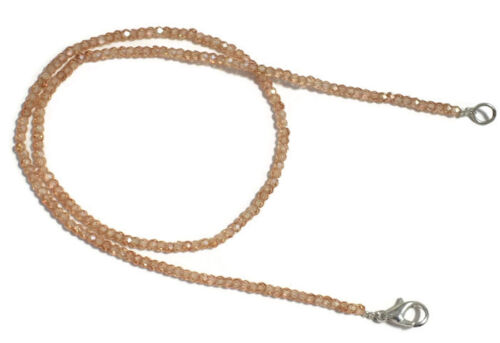 "Champagner Zorcon Edelstein 3-4mm Rondell Facettiert Perlen 18 /"" Strang"