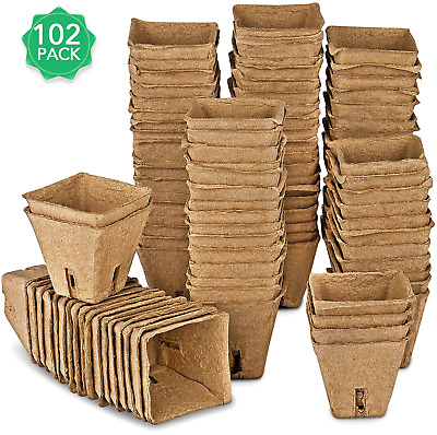 10 Cells Per Tray 10PCS Seed Starter Tray Kit,100 Cells Biodegradable Peat Pots Organic Germination Trays Garden Propagator Set with 10Pcs Plant Labels 2Pcs Garden Tools