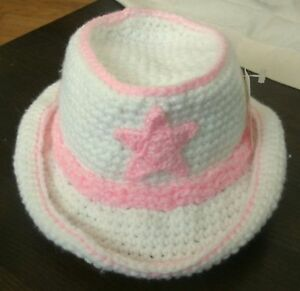 Handmade Crochet Baby Infant Western Style Cowboy Hat Pink White