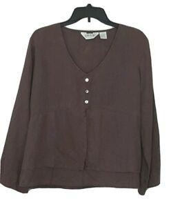 Orvis-Womens-Size-Medium-Top-Hemp-Tencel-Casual-Boho-Brown
