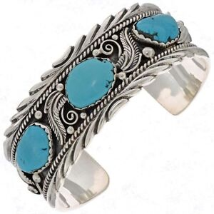 Image Is Loading Navajo Sterling Silver Turquoise Cuff Bracelet Womens Mens