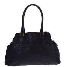 Authentic FENDI Logos DE JOUR Star Motif Shoulder Bag Leather Black Italy 02S245