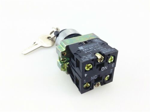 4pcs XB2 BG25 2 Position 1NO 1NC Locked Maintained Key Operated Selector Switch