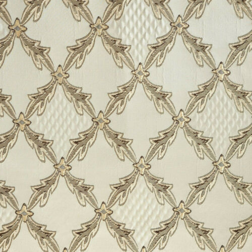 "57/"" Wide Diamond Drapery Upholstery Jacquard Fabric Cream Color by The Yard"