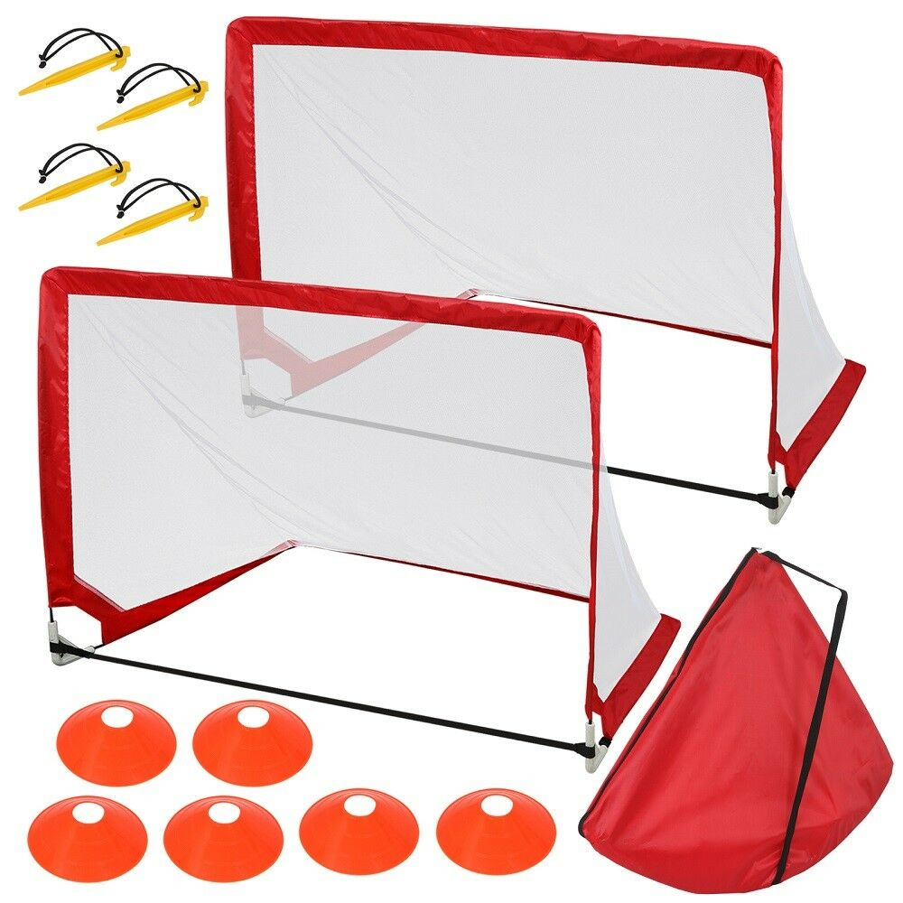 Portable Soccer Goals Designed for All Ages W Carry Case & 6 Training Cones