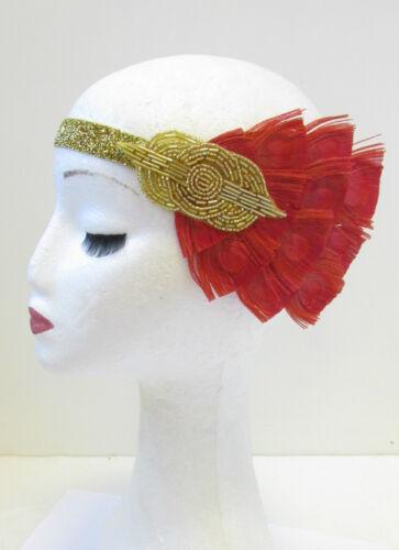 Gold Red Peacock Feather Headband Vintage 1920s Headpiece Flapper Headdress V10