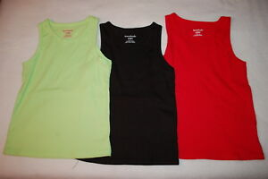 94544c279 Toddler Girls 3 LOT RIBBED TANK TOPS Solid Colors LIME GREEN, BLACK ...