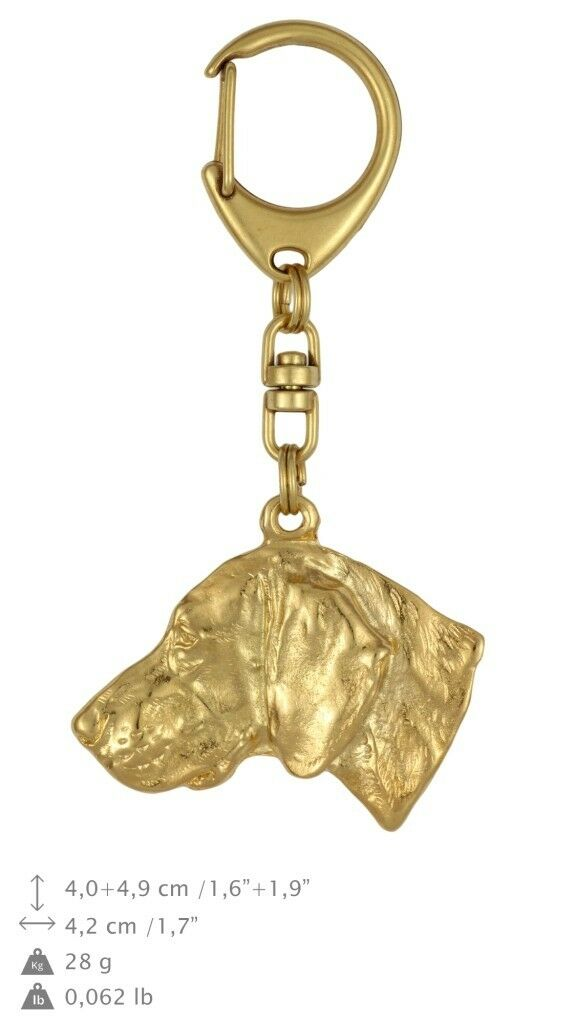 Weimaraner type type type 2 - Gold coverot keyring with dog quality keychain Art Dog 2fc541