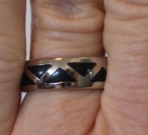 Black Onyx Ring Stone Silver Band Wedding Jewelry Fashion Accent Different Sizes