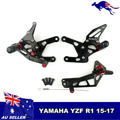 CNC Adjustable Shift Brake Pedal Rearset FootPeg For Yamaha YZF-R6 2017-2018