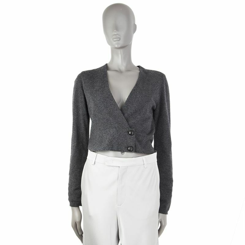 53705 auth BRUNELLO CUCINELLI grau cashmere Double-Breasted Cropped Sweater M