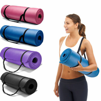 EVA Non-Slip Yoga Mat Exercise Fitness Pilates Camping Gym Meditation NBR Pad UK