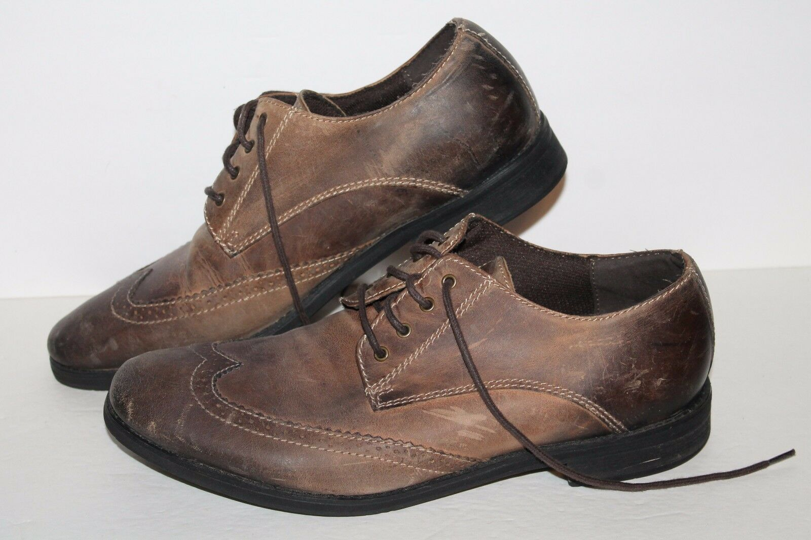 Bed Stü Wingtip Oxfords Casual shoes, Distressed Brown, Leather, Mens US 10.5
