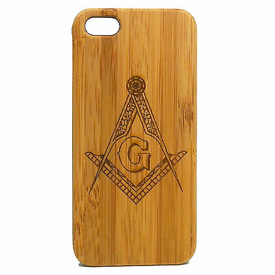 Freemason Case for iPhone 7 Bamboo Wood Cover Masonic Square and Compasses Frat