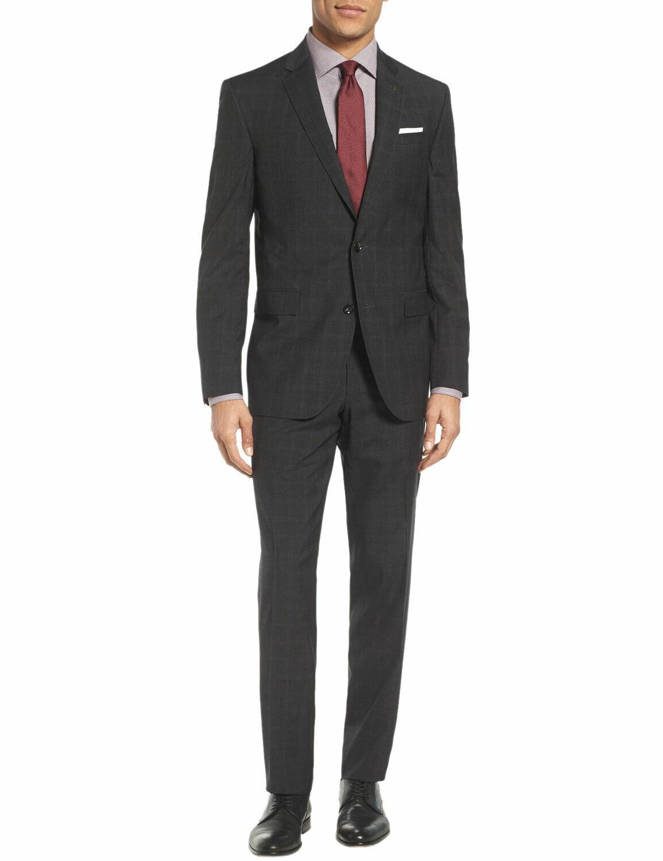LUBIAM Studio Midnight bluee Plaid Suit 42 Short 42S Flat Front Pants 36W