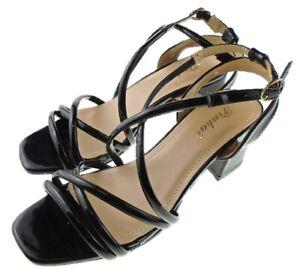49d094931c4 Details about Ladies Pinkai Black Patent Strappy Low Block Heel Evening  Party Shoes Sizes 3 -8