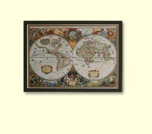 31% Sale Antiquitäten & Kunst Bild Kunstdruck Historische Weltkarte 17th Jahrundert Mit Rahmen