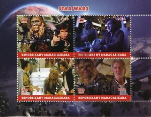 Madagascar-2018-CTO-Star-Wars-Han-Solo-Chewbacca-4v-M-S-Movies-Film-Stamps