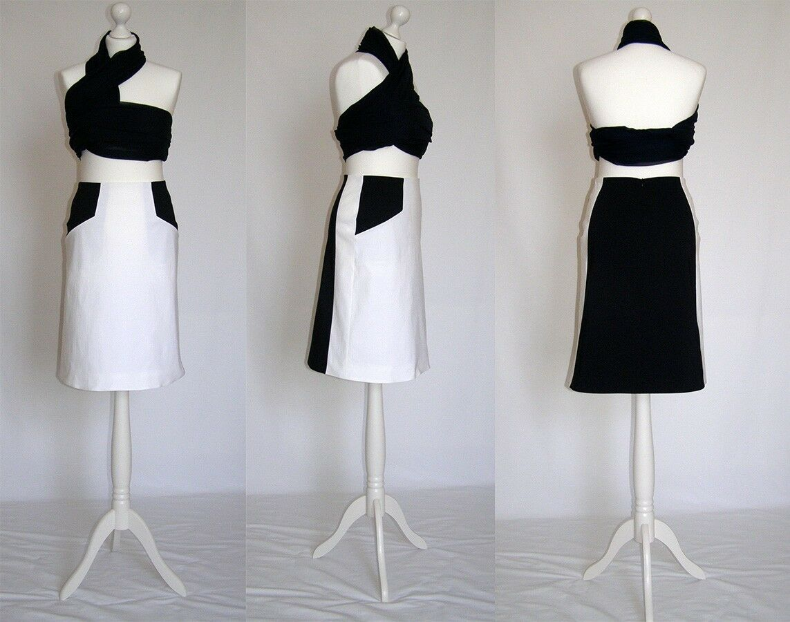 SALE Elegant, casual, navy, ivory, white, A line skirt size 10, 12, 14