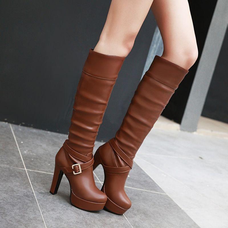 Femme Vogue boucles et talon aiguille bottes Hautes Parti chaussures Compensées plus Sz