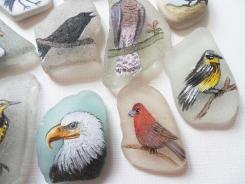 HAND Painted Bird in miniatura PITTURA SU VETRO mare spiaggia Pottery Scelta di finitura