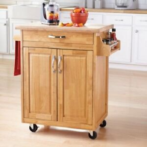 Kitchen Essentials Island Cart Solid Wood Top Effortless Wheels Meal Prep New Ebay