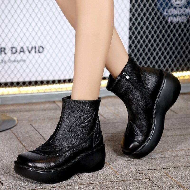 Womens Real Leather Spring Ankle Boots Low Heels Side Zipper shoes Retro Flower