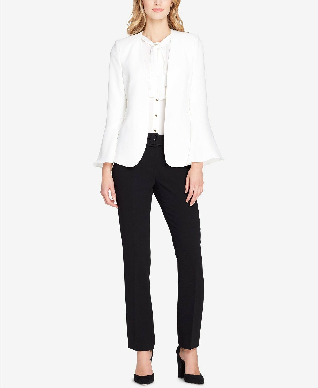 380 TAHARI ASL WOMEN'S IVORY WHITE BELL-SLEEVE COLLARLESS LINED LINED LINED BLAZER SIZE 2 dd0fc3