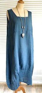 Fab Italian Linen Lagenlook quirky long length floral print Plus size Dress ...